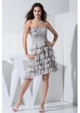 Grey Prom Dress With Sequins and Ruffled Layers Sweetheart Knee-length