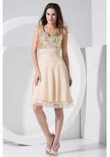 Champagne Prom Dress With Sequins Knee-length Chiffon V-neck