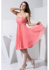 Beading and Pleat Decorate Bodice Knee-length Watermelon Red 2013 Prom Dress