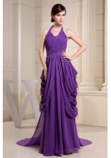 Purple Prom Dress With Halter Ruch and Appliques