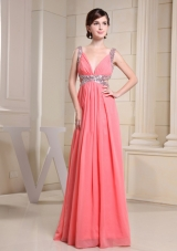 V-neck Beading For Watermelon Prom Dress With Floor-length
