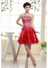 Red Beaded Bodice and Ruffles For Short Prom Dress