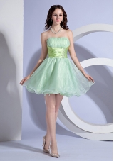 Apple Green A-line Mini-length Beading Decorate Wasit Strapless Organza 2013 Prom Dress