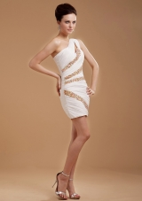 One Shoulder Cocktail Dress With Beaded Mini-length For Club