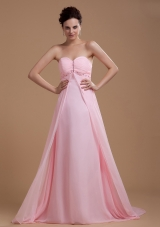 Baby Pink Prom Dress With Sweetheart Beaded Court Train Chiffon