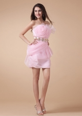 New Style Prom Dress With Baby Pink Hand Made Flowers and Beading