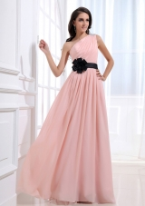 One Shoulder and Sash For Custom Made Prom Dress With Ruched and Baby Pink