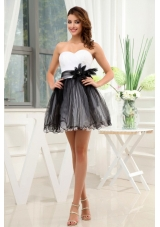 Black and White Prom / Cocktail Dress With Hand Made Flower Mini-length