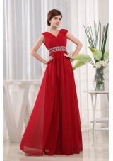 Empire V-neck Chiffon Floor-length Beaded Decorate Waist Red Prom Dress