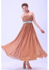 Custom Made For Rust Red Bridesmaid Dresses With Blue Belt and Ruching Chiffon Ankle-length