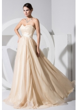 Champagne Sweetheart Neckline Chiffon Brush Train 2013 Prom Dress