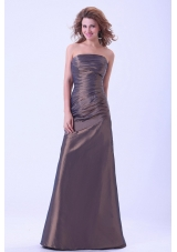 Simple Prom Dress Brown Strapless A-line Taffeta Floor-length Mother of the Bride Dresses