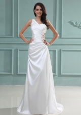 One Shoulder Wedding Dress With Brush Train Beaded For Custom Made