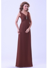 Brown Mother Of The Bride Dress V-neck Floor-length Empire Chiffon