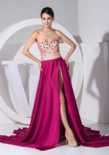 Beading Sweetheart Neckline High Slit Brush Train Prom Dress 2013