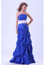 Blue Custom Made Bridesmaid Dresses Wth Pink Sash and Pick-ups Floor-length