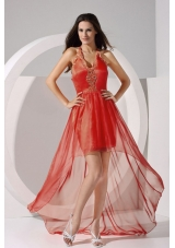 Halter Embroidery Taffeta and Organza High-low 2013 Prom Dress