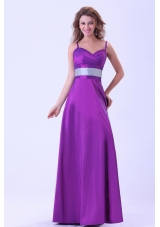 Purple Bridesmaid Dresses With Belt Spaghetti Straps Floor-length
