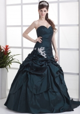 Custom Made Navy Blue Sweetheart Appliques and Pick-ups Prom Dress With Brush Train