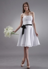 White Bridesmaid Dresses With Black Sash Knee-length Chiffon
