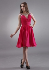 Coral Red V-neck Bridesmaid Dresses With Beading Chiffon Knee-length