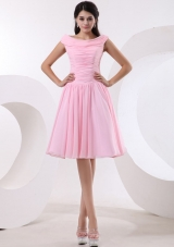 Bateau Baby Pink Prom Dress With Ruched Bodice