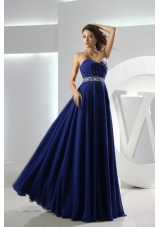 Beaded Decorate Waist Sweetheart Empire Chiffon Floor-length Royal Blue Prom Dress