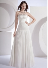 Beading Decorate Bodice Strapless Pleat 2013 Prom Dress Floor-length
