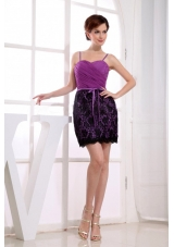 Column Mini-length Lace Straps Prom Dress Fuchsia