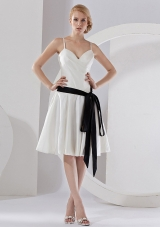 Black Sash Spaghetti  Straps Taffeta Knee-length 2013 Bridesmaid Dresses