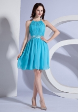 Beading and Ruching Decorate Bodice Halter Aqua Blue Chiffon Knee-length 2013 Prom Dress