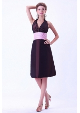 Halter Brown Bridesmaid Dresses With Pink Belt Knee-length Taffeta