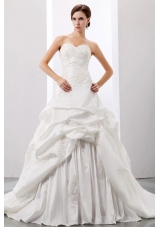 Custom Made Wedding Gowns Princess Pick-ups and Appliques Sweetheart With Taffeta