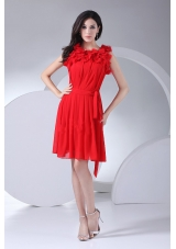 Hand Made Flowers Decorate Bodice Red Chiffon Knee-length 2013 Prom Dress