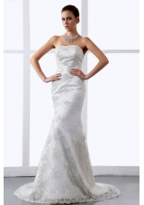 Mermaid / Trumpet Embroidery Lace Strapless Brush / Sweep Train Wedding Dress