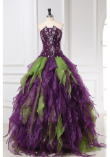 Strapless Green and Purple Organza Quinceanera Dress with Rhinestone