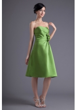 A-line Sweetheart Spring Green Ruching Hand Made Flower Prom Dress