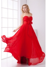 Elegant Strapless Red Empire Pleat Chiffon Prom Dress with Bowknot