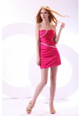 Hot Pink Column Sweetheart Prom Dress with Beading and Ruching
