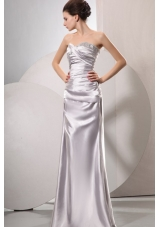 Column Sweetheart Silver Beading and Ruching Floor-length Wedding Dress
