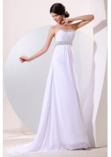 Empire Strapless Beading Chiffon Ruching Brush Train Wedding Dress