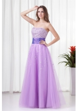 Lovely A-line Strapless Tulle Lilac Beading Prom Dress with Lace Up