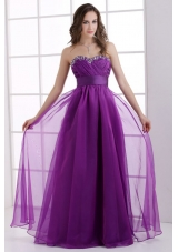 A-line Sweetheart Eggplant Purple Ruching Beading Chiffon Prom Dress
