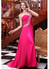Empire One Shoulder Hot Pink Appliques and Ruching Brush Train Prom Dress