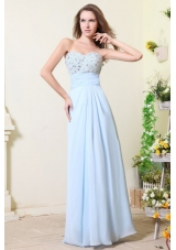 Empire Sweetheart Beading Light Blue Chiffon Prom Dress