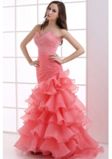 Mermaid Watermelon Red Sweetheart Beading Ruffled Layers Ruching Prom Dress