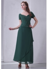 V-neck Chiffon Beading Ankle-length Prom Dress with Short Sleeves