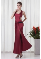 Simple Square Column Red Criss Cross Prom Dress with Ruching
