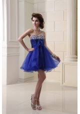 A-line Organza Peacock Blue Prom Dress with Beading Ruchings Sweatheart