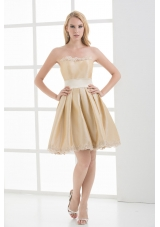 A-line Strapless Sleeveless Embroidery Champagne Prom Dress